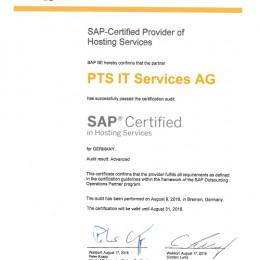 """PTS IT Services AG erhält die Zertifizierung als """"advanced"""" SAP Hosting Partner von der SAP SE"""