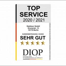 Debitoor bekommen das Siegel TOP SERVICE (DIQP) verliehen