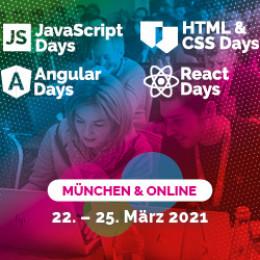 Die 2. Auflage als Hybrid-Trainingsevent: JavaScript, Angular, React, HTML & CSS, 22. – 25. März 2021