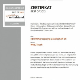 Web2Touch erlangt ZERTIFIKAT BEST OF 2012 eLearning beim INNOVATIONSPREIS-IT